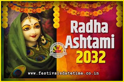 2032 Radha Astami Pooja Date and Time, 2032 Radha Astami Calendar