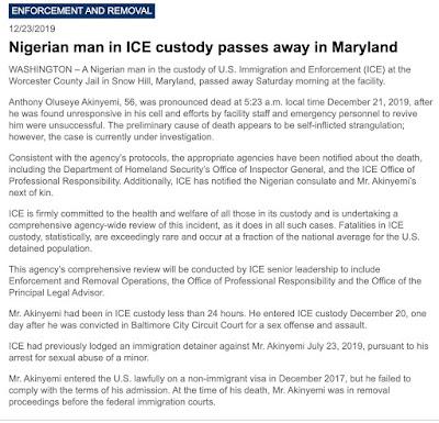 Nigerian Man Commits Su!c!de In US Immigration Detention Centre