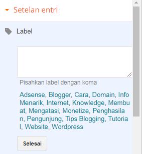 8. Label - 40 Post Editor Blogger