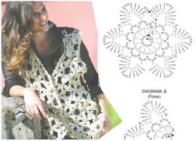 Chaleco de flores gigantes a ganchillo y tricot