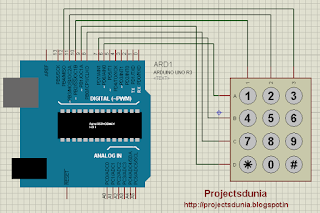 simple circuit diagram of keypad interfacing with arduino
