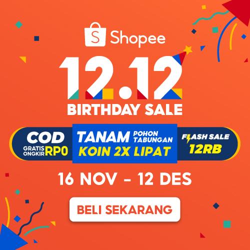 #Shopee - #Promo 12.12 Birthday Sale Gratis Ongkir & Flash Sale 12 Ribu (16 Nov - 12 Des 2020)