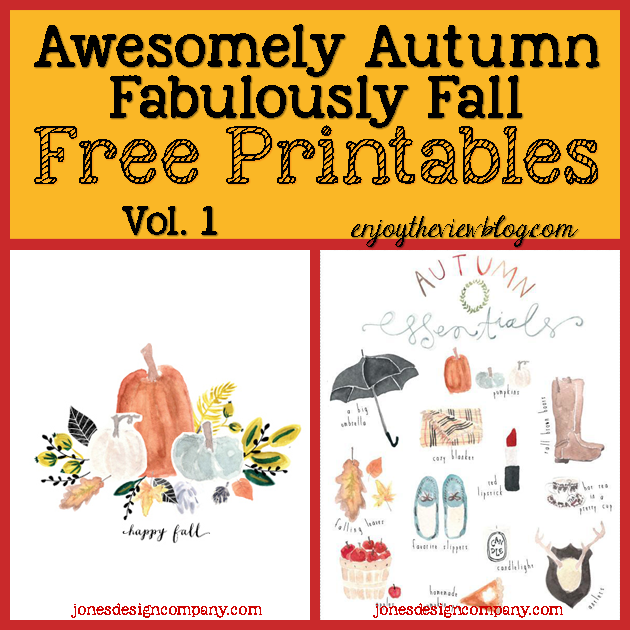 fall printables with pumpkins, apples, leaves, etc