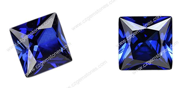 princess cut lab blue sapphire
