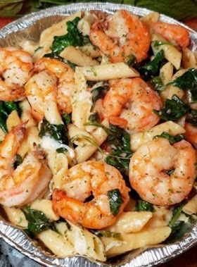 Cheese Shrimp Penne Pasta & Spinach