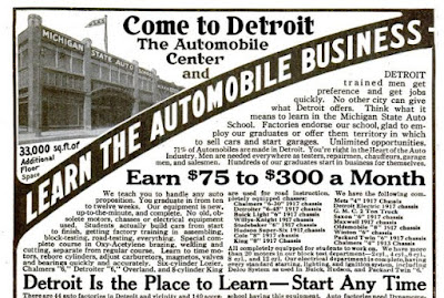 Ad for Michigan State Auto School https://jollettetc.blogspot.com