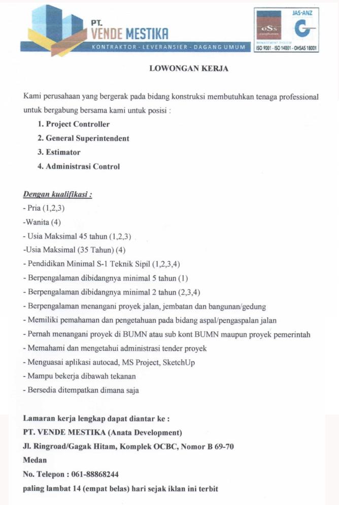 Info Loker Medan Hari Ini : loker, medan, Loker, Medan, Terbaru, Vende, Mestika, MedanLoker.Com, Lowongan, Kerja