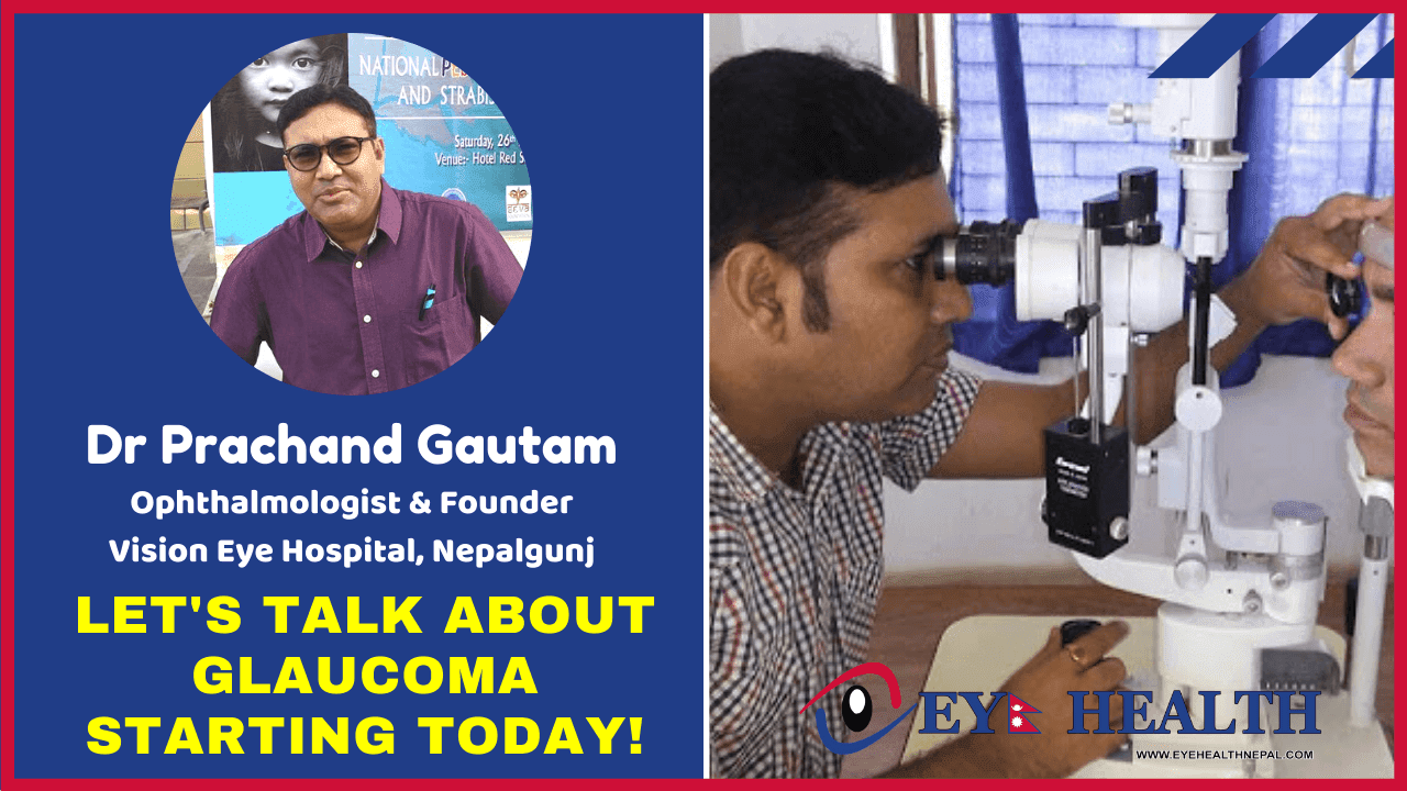 Dr prachand gautam glaucoma specialist of vision eye hospital examining patient