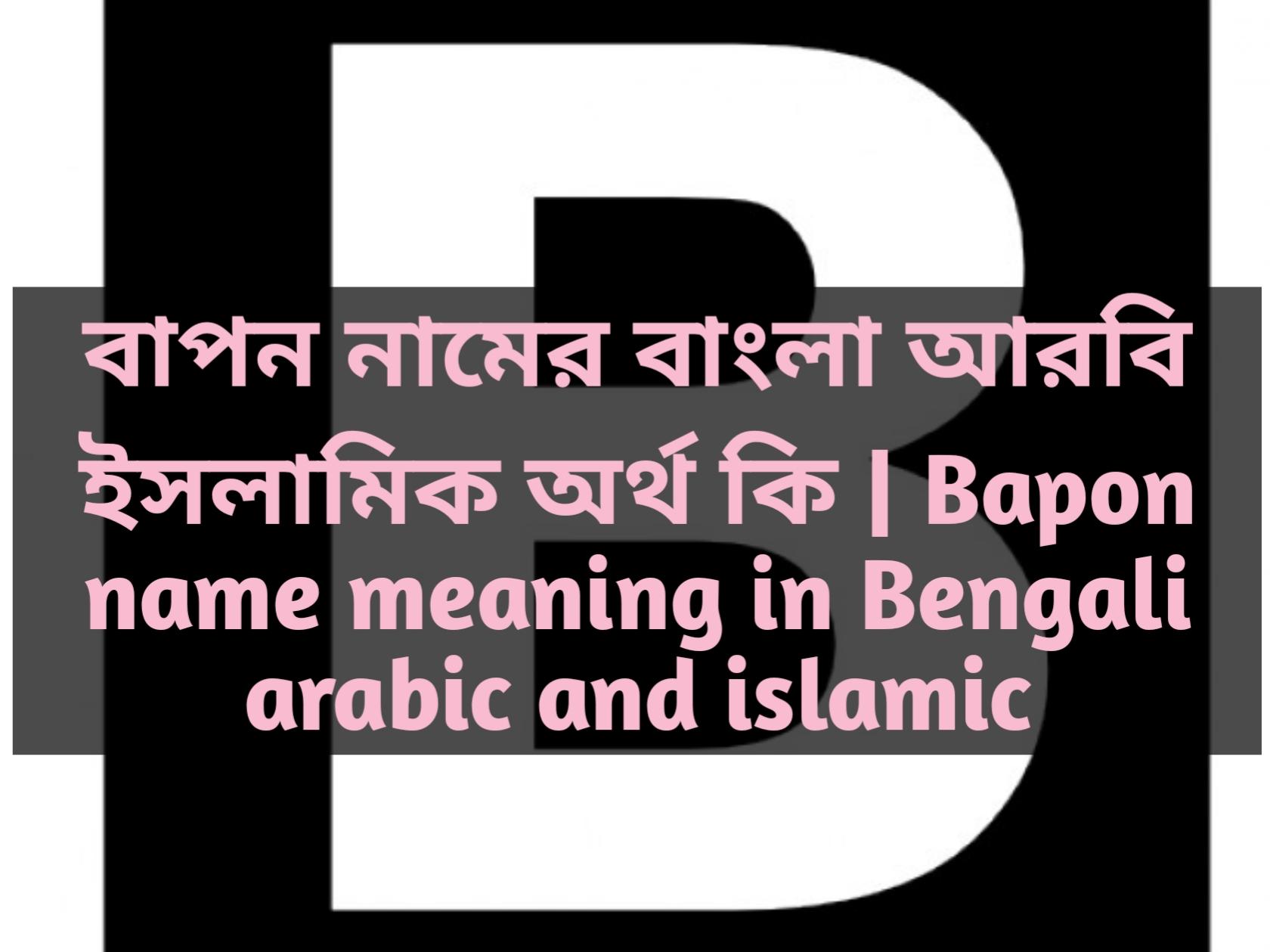 Bapon name meaning in Bengali, বাপন নামের অর্থ কি, বাপন নামের বাংলা অর্থ কি, বাপন নামের ইসলামিক অর্থ কি,