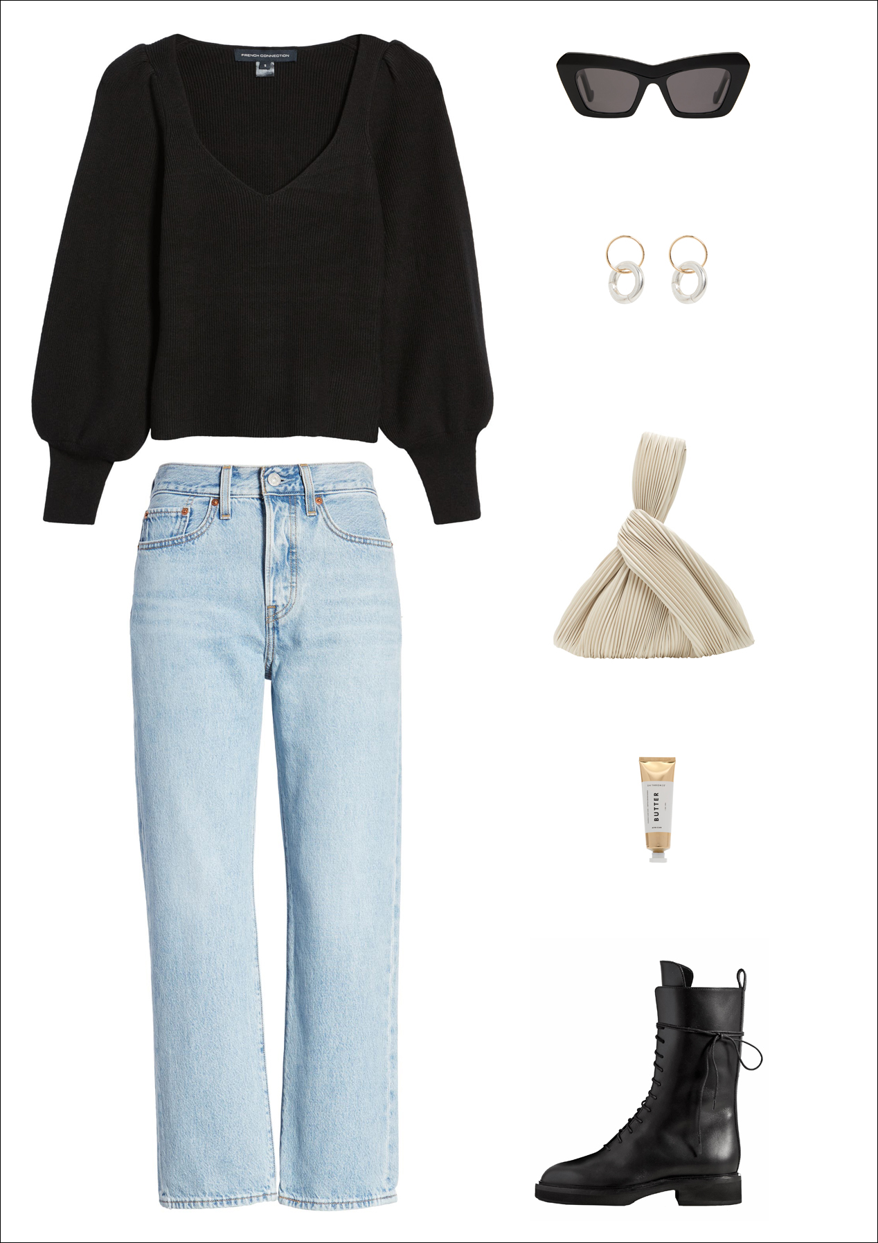 Stylish Fall Outfit Idea — French Connection balloon-sleeve sweater, Loewe cat-eye sunglasses, Kozakh statement hoop earrings, Nnaushka top-handle bag, Levi's straight-leg jeans, and Khaite black lace-up combat boots