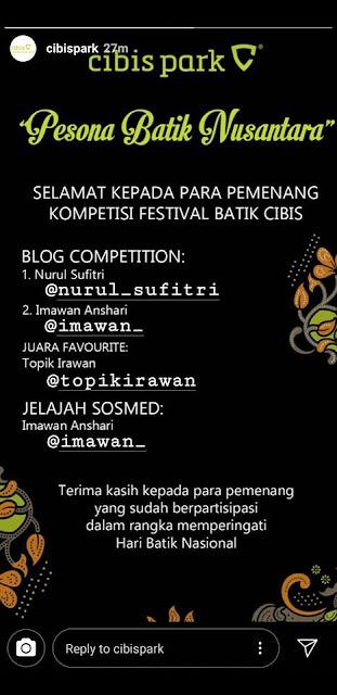 sambut hari batik nasional cibis park hadirkan cibis batik festival pesona batik nusantara nurul sufitri travel blogger lifestyle