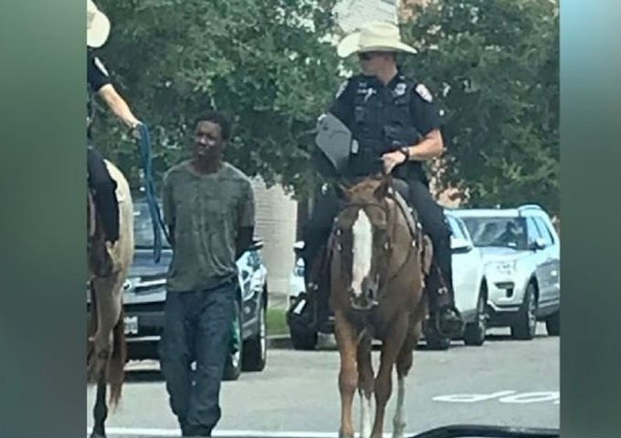 Texas officers on horses led handcuffed black man by a rope