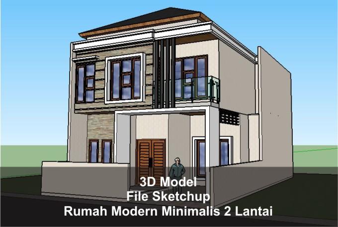 Download 3d Rumah Modern Minimalis Dua Lantai File Sketchup Arsimedia