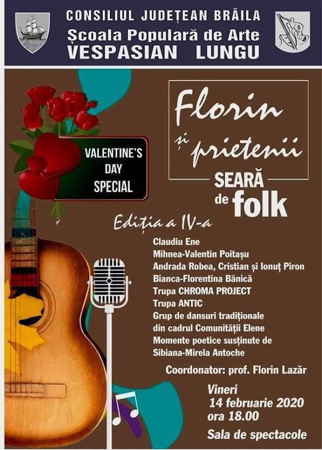 Seara de folk: Florin si prieteniila Scoala Populara de Arte Vespasian Lungu din Braila