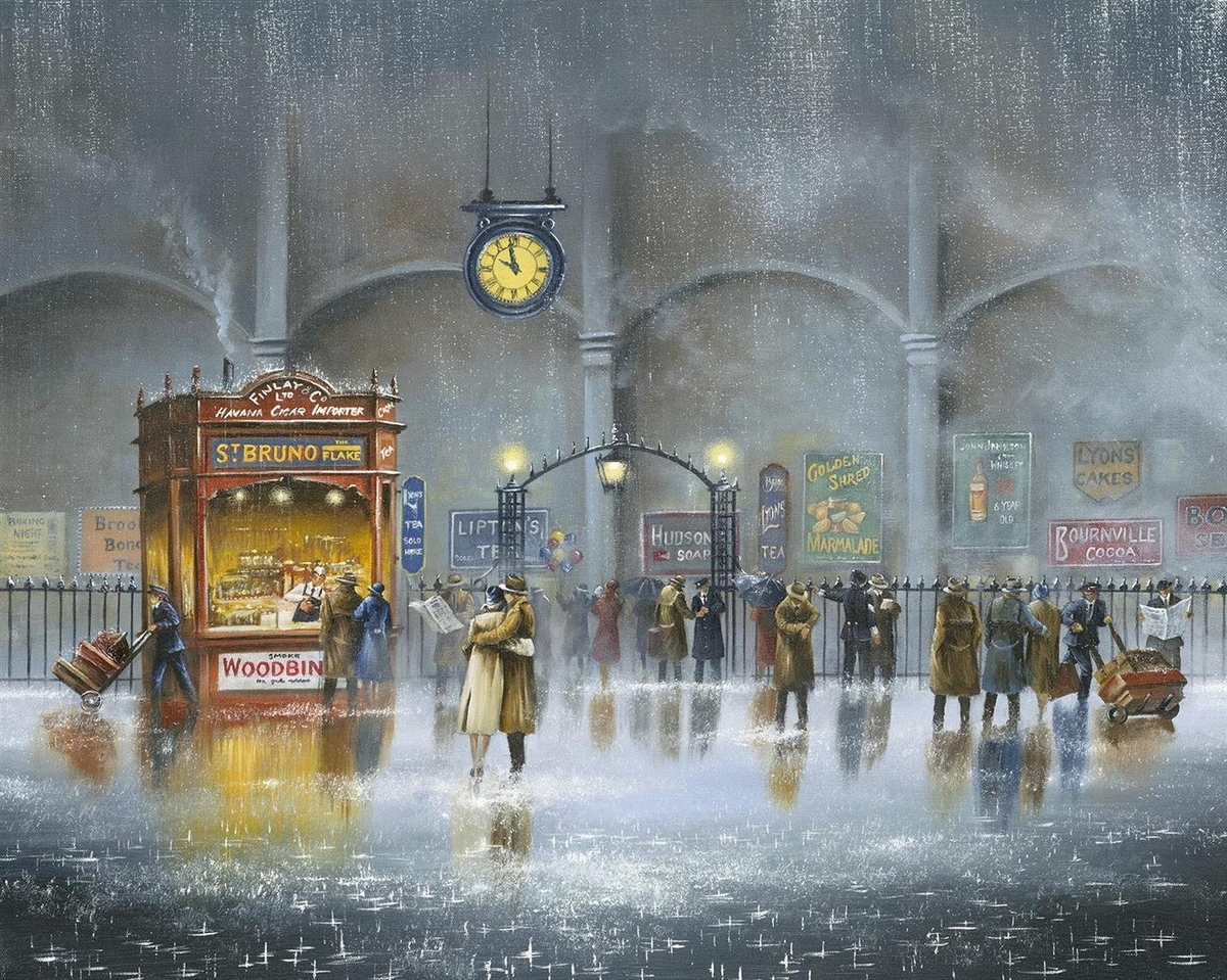 09-Until-the-Last-Minute-Jeff-Rowland-Paintings-of-Romantic-Scenes-in-the-Rain-www-designstack-co