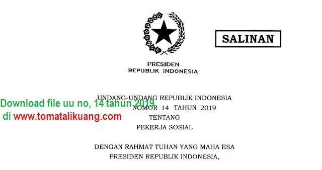 Isi Undang-Undang Nomor 14 Tahun 2019 Tentang Pekerja Sosial