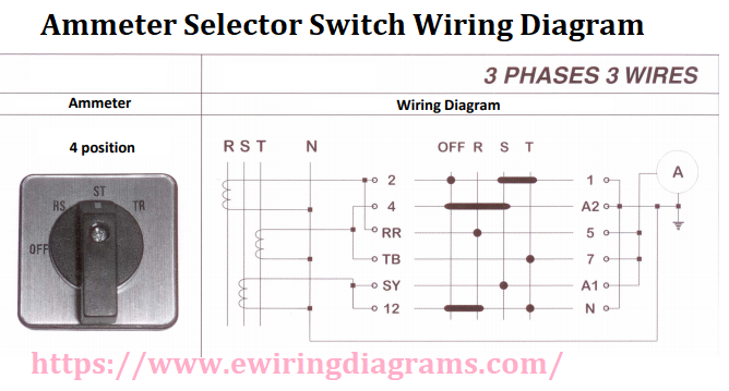 ammeter selector switch wiring diagram for 3 phase 3 wires