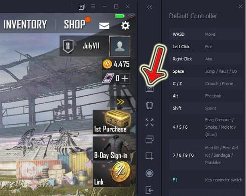 Vị trí phần cài đặt bàn phím chi tiết trong Tencent Gaming Buddy