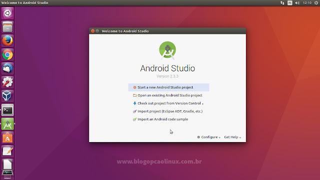 """Tela inicial do Android Studio executando no Ubuntu 16.04.3 LTS """"Xenial Xerus"""""""