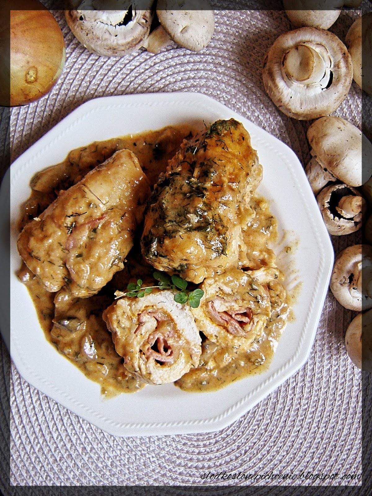 Roladki z kurczaka w sosie musztardowym