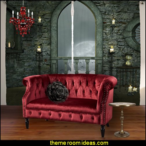gothic living room   Garnet Velvet Loveseat - Tufted Rolled Arm Velvet Chesterfield Loveseat