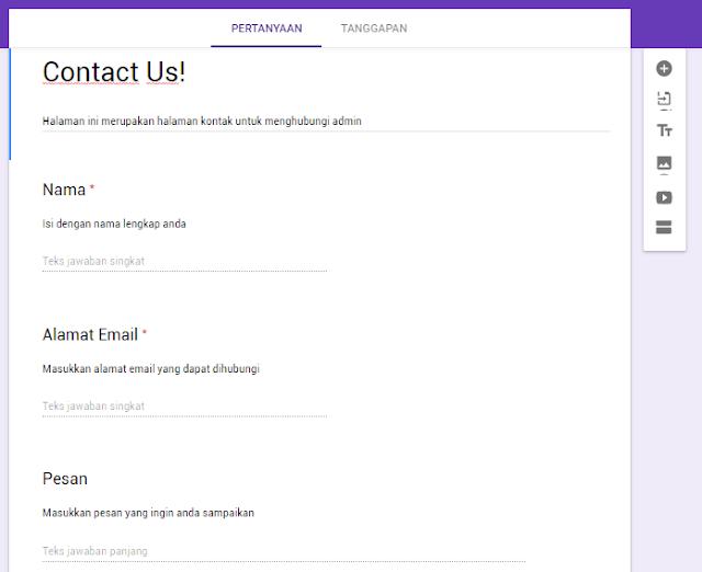 Membuat Halaman Contact Form Blogger dengan Google Formulir