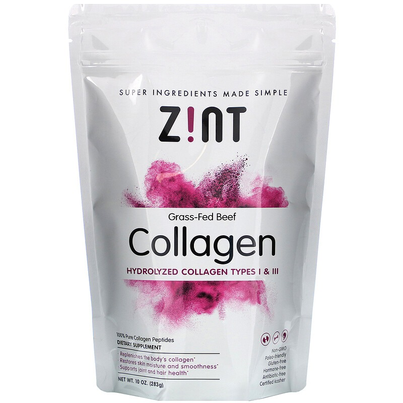 Zint, Коллаген из говядины травяного откорма, гидролизованный коллаген типов I и III, 10 унц. (283 г)