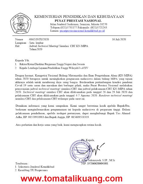 Jadwal Pelaksanaan Tes CBT KN-MIPA Tahun 2020; tomatalikuang.com