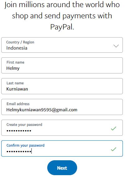 masukkan data pendaftaran akun paypal