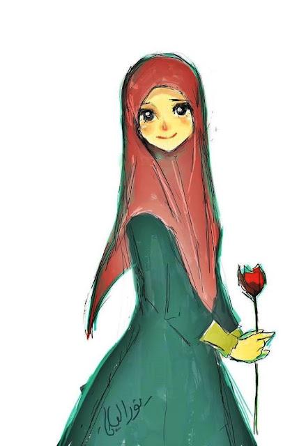 Gambar kartun muslimah lucu