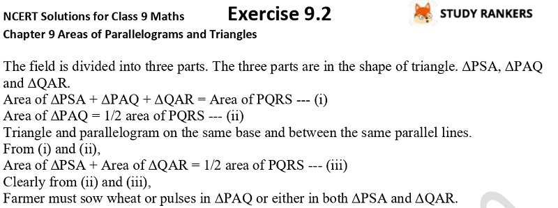 NCERT Solutions for Class 9 Maths Chapter 9 Areas of Parallelograms and Triangles Exercise 9.2 Part 5