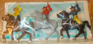 2 Made In Hong Kong Indian And Cowboy Header Carded Plastic Toy Figures DSCN6679 Header Card; Hong Kong; Hong Kong MOC; Hong Kong Plastic Toy; Horse Riders; Mounted Cowboys; Mounted Figures; Plastic Figures; Small Scale World; smallscaleworld.blogspot.com; Wild West;