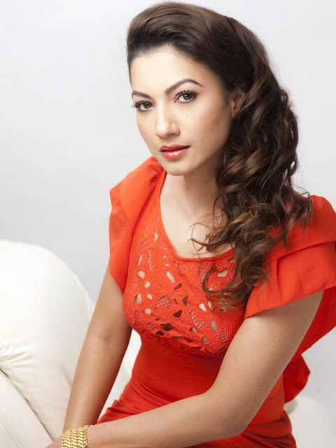 Gauhar Khan In Red Dress With Red Lips
