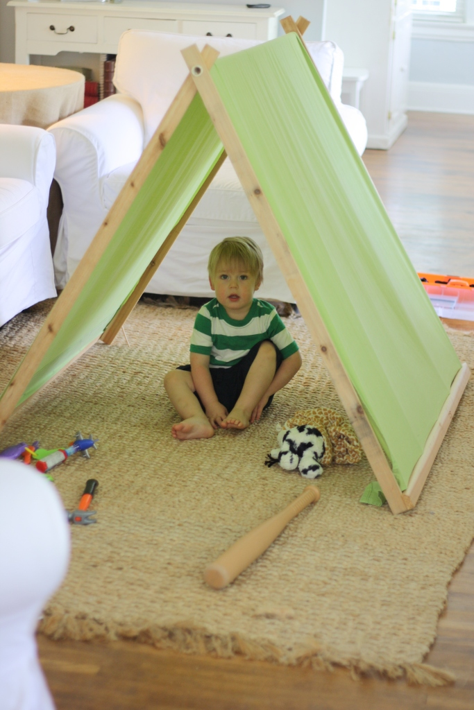 When we realized that we would be sharing a hotel room with Burl during our crazy wedding weekend I tried to figure out a way to make him a special space. & A Barefoot Day: DIY A-Frame Tent For Kids