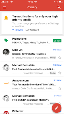 Gmail iOS app with option to get notifications for high-priority emails only