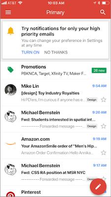 Application Gmail sur iOS avec possibilité de recevoir des notifications uniquement pour les e-mails prioritaires