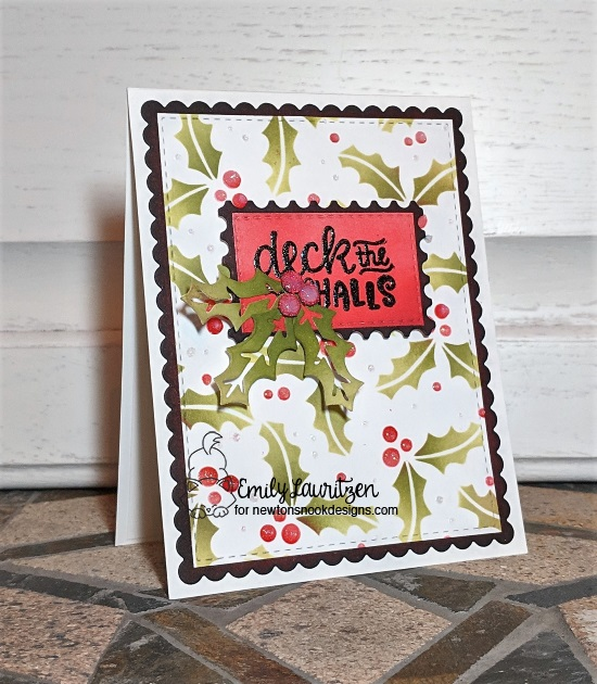 Deck the hall by Emily features Holiday Foliage, Frames & Flags, Ornamental Wishes, Framework, and Pines & Holly by Newton's Nook Designs; #newtonsnook