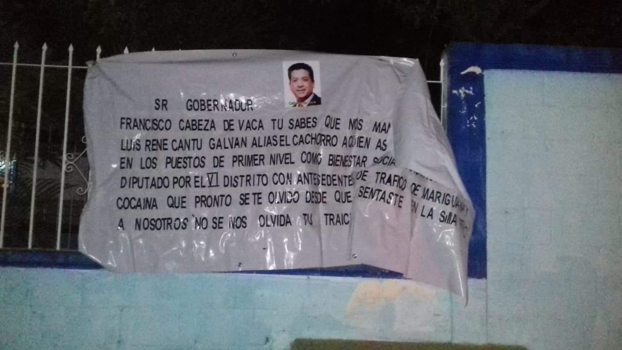 Aparecen Narco Mantas del Cartel del Golfo hacia el Gobernador de Tamaulipas: Lo acusan de traición