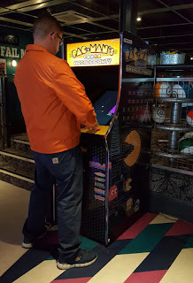 Playing the Pac-Man arcade cabinet at Soul Bowl in Morecambe earlier this year