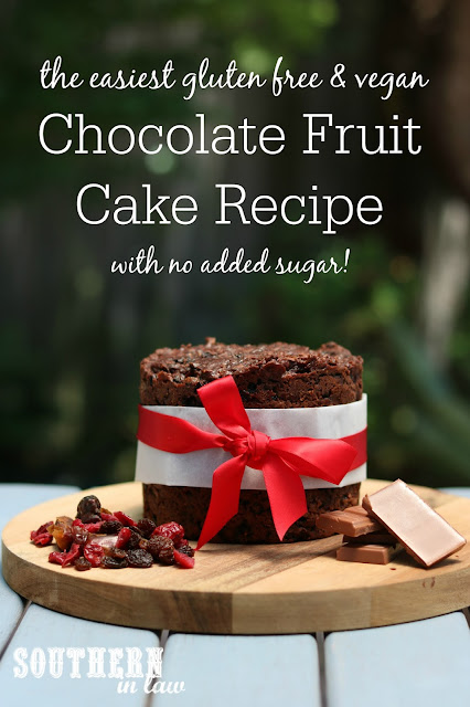 The Easiest Gluten Free & Vegan Chocolate Fruit Cake Recipe with No Added Sugar - low fat, gluten free, vegan, refined sugar free, healthy, egg free, dairy free