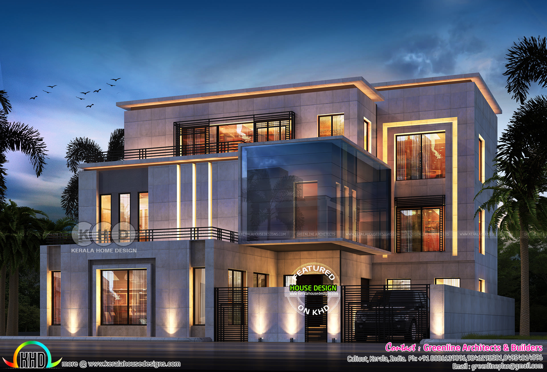 7 Bedroom Contemporary Home Design Plan Kerala Home Design