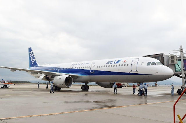 エアバス321ceoが初飛来