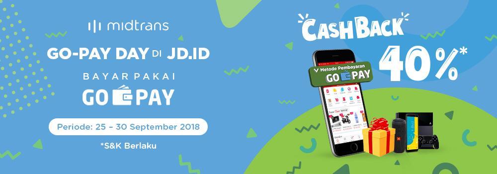 GoJek - Promo Cashback 40% Belanja di JD.ID Bayar Pakai GOPAY (s.d 30 Sept 2018)