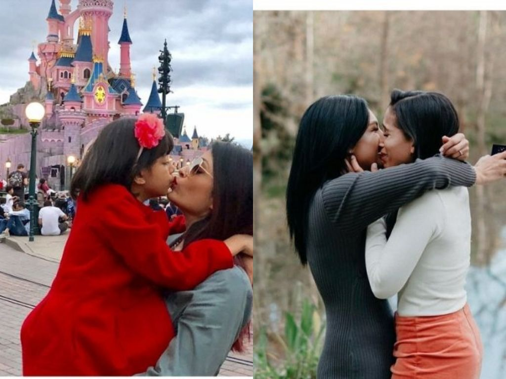 A girl proposing to her girlfriend and a woman kissing her daughter on the lips