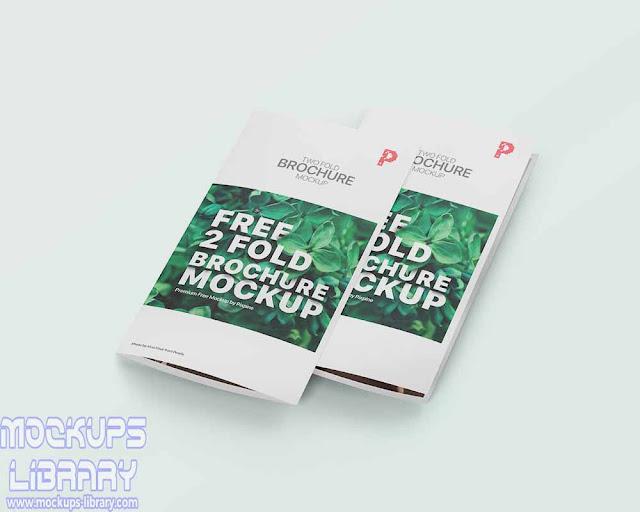 2 fold brochure mockup psd