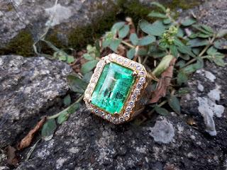 Cincin Batu Zamrud Columbia Ikatan Emas Berlian ZR006