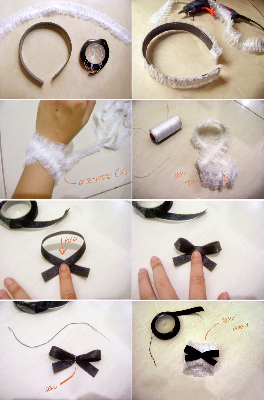 DIY Maid Costume Accessories Tutorial - Headband - Wrist Cuff