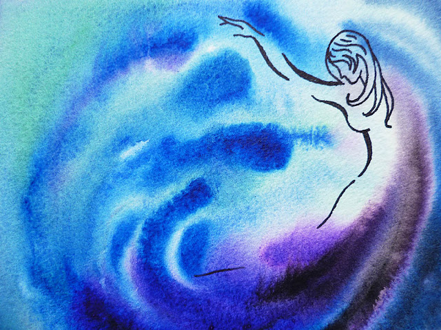 watercolor blue abstract painting Dancing Water