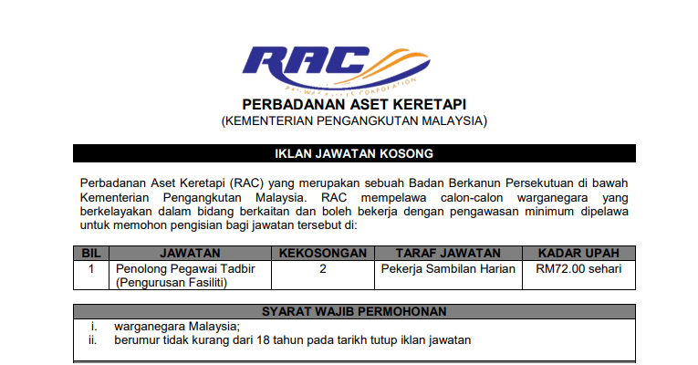 Jawatan Kosong di Perbadanan Aset Keretapi RAC