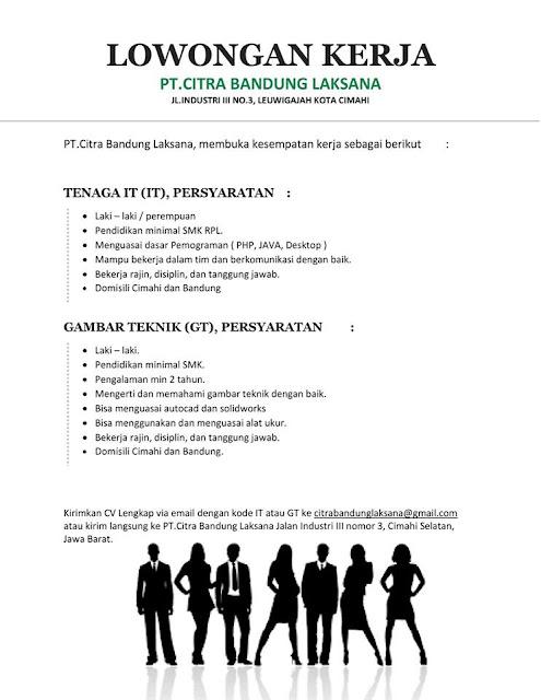 Lowongan Kerja PT. Citra Bandung Laksana